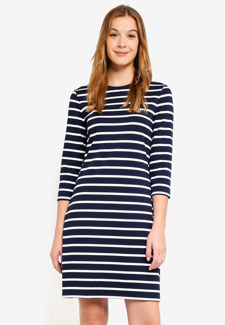 Bold Stripe Blue Republic Shift Banana Dress Ponte Stripe w0q7XX