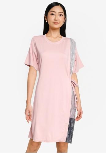 The Duo pink Pleated T-shirt Dress B1EEAAA53164D2GS_1