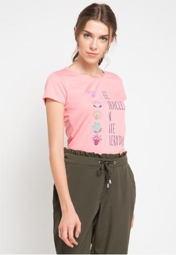 MEIJI-JOY pink Print See Miracles short sleeve Tshirt ME642AA0VRIPID_1