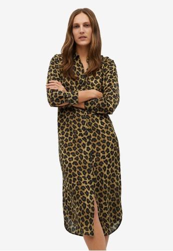 Mango beige Leopard-Print Shirt Dress 16149AAB7E3F4CGS_1