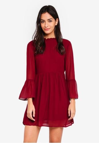 Something Borrowed red Flare Sleeve Mini Dress 77855AA6883790GS_1