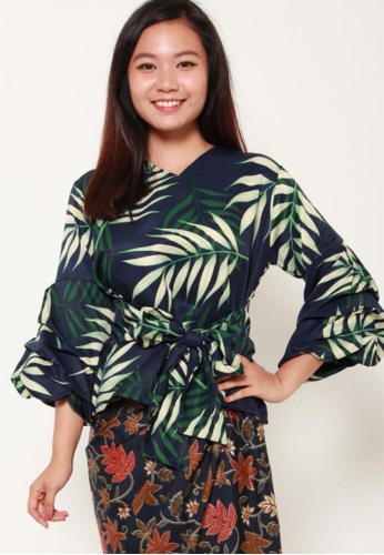 Naphthys Collection multi and navy Nada Pleated Bell Sleeve Bow Tie Waist Blouse 8155FAAB43D1B2GS_1