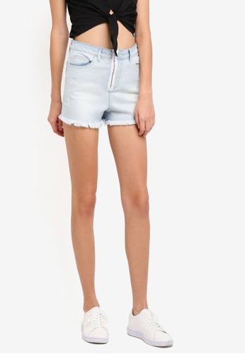Penshoppe blue High Waist Denim Shorts With Zipped PE124AA0SN0DMY_1