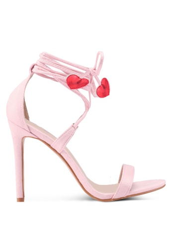 Public Desire red and pink Venus Heart Detail Tie Up Barely There Heels 03BD0SH3F16058GS_1