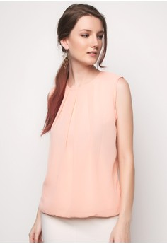 Round Neck Top with Pleats