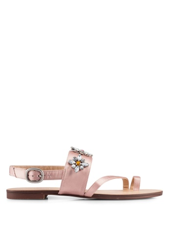 ZALORA pink Gem Embellished Sandals D3145SH7B98305GS_1