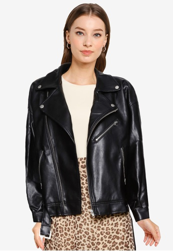 Heather black Faux Leather Biker Jacket C5A5CAA615A8F6GS_1