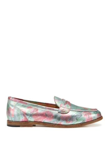 RABEANCO red and green and multi and silver RABEANCO SERA Box Leather Loafers - Metallic Printed DBF57SH5F9F6FCGS_1