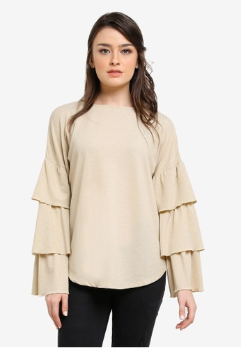 Zalia gold Metallic Tiered Sleeve Top DF4C6AA78DFCB7GS_1