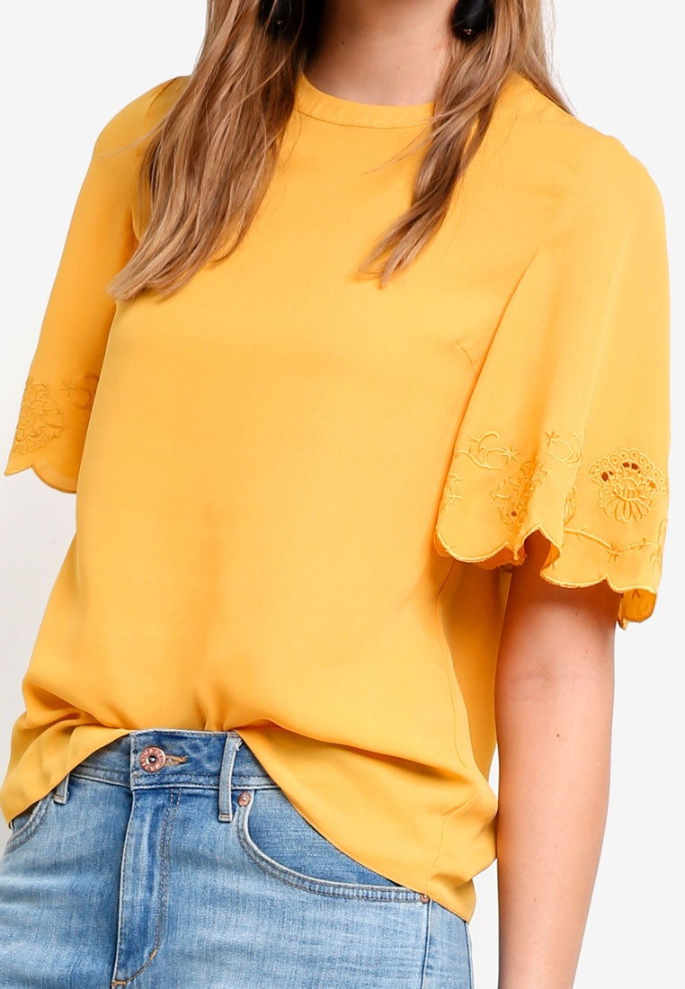 Tee Angel Cutwork Perkins Orange Sleeve Ochre Dorothy qwTgXBt