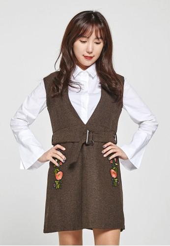 韓流時尚 esprit香港門市波點蝴蝶結迷笛連衣裙 F4019, 服飾, 洋裝