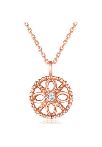 MaBelle red 18K 750 Rose Gold Diamond Filigree Circle Pendant Necklace 51ED7AC507706BGS_1