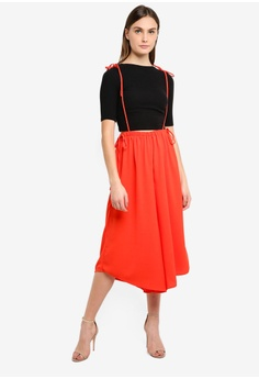 45489855fc5 LOST INK red Crop Dungaree Tie Side Trousers 2F68FAA23AFED6GS 1