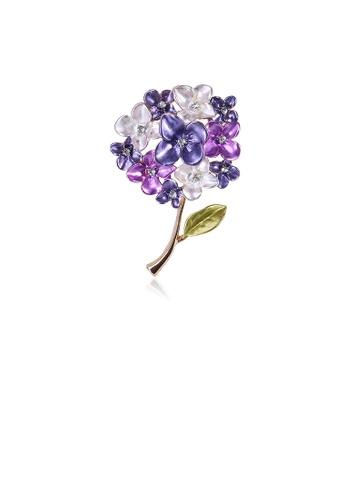 Glamorousky white Fashion and Elegant Purple Flower Brooch with Cubic Zirconia DA2DBACA87F25AGS_1