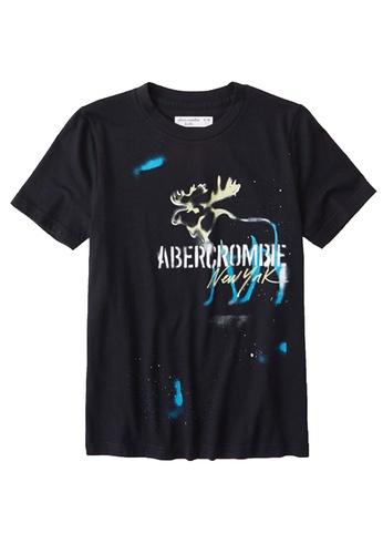 Abercrombie & Fitch black Graffiti Print Logo T-Shirt 8AA6BKAB07BE50GS_1