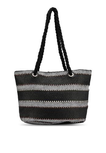 Black Rope Handle Beach Bag
