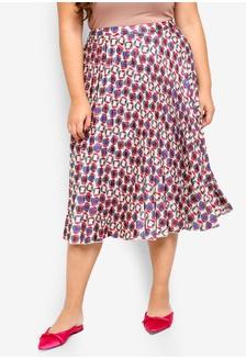 9edde10fd0c Plus Size Printed Pleated Skirt 2FFFDAABA6CA19GS 1