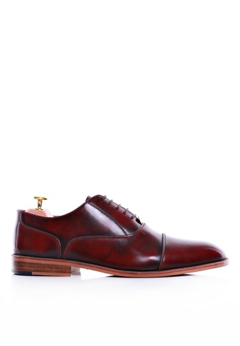 Zeve Shoes red Zeve Shoes Oxford Cap Toe Lace Up - Red Polished Leather 14469SHF78693DGS_1
