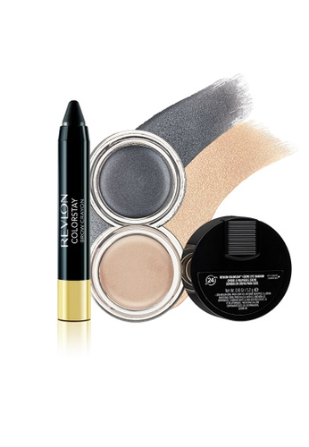 Revlon black and grey and beige ColorStay™ Crème Eye Shadow & Brow Crayon Set 1 RE737BE0FUTBSG_1