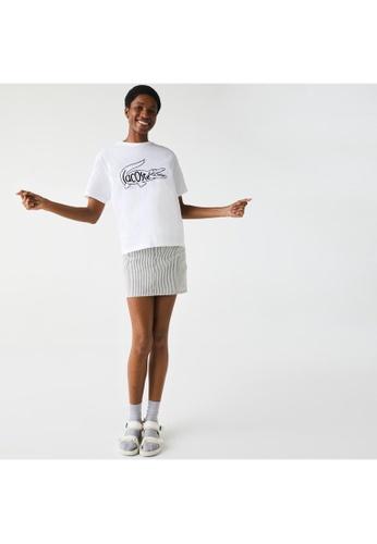 Lacoste white Women's Crew Neck Crocodile Print Cotton T-shirt DA810AAE53C752GS_1