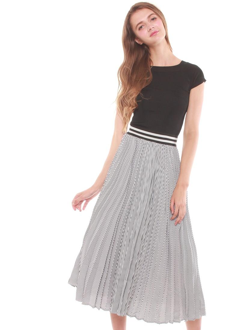 Skirt Striped JOVET Midi Black JOVET Striped Midi vwxRXq6