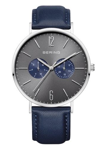 Bering blue and silver Classic 14240-803 Grey 40 mm Men's Watch with Additional Nylon Strap 3F6D2AC1E4477DGS_1