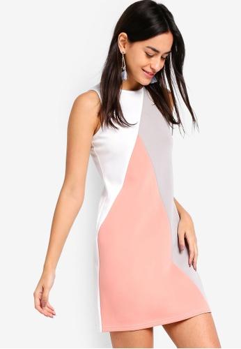 ZALORA white and multi Colorblock Shift Dress BE701AAD6887F7GS_1