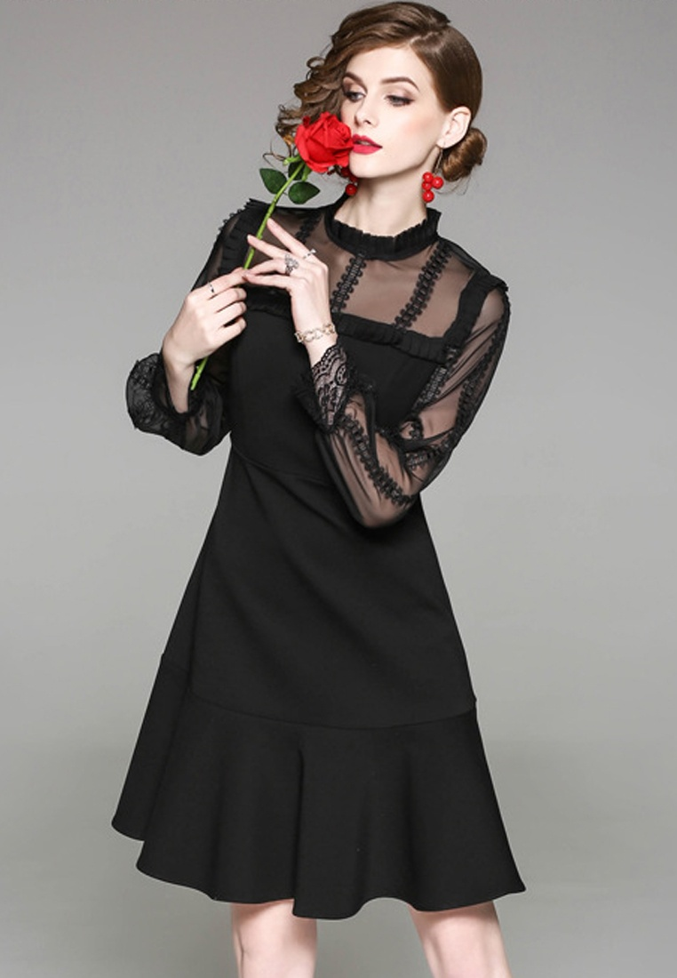 CA031499 Spring Black New Black 2018 Sunnydaysweety Panel Dress Lace RnqxCY