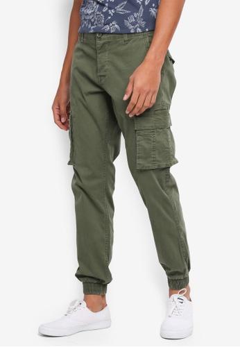 Only & Sons green Thomas Cuff Cargo Pants 2E6ADAA53E0C67GS_1
