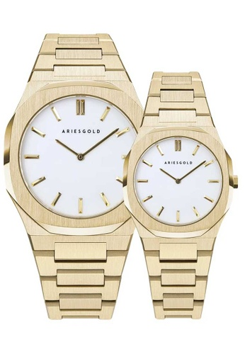 Aries Gold gold Aries Gold Couple Set -  Prestige G 1031 and L 1032 G-WG White and Gold Tone Stainless Steel Watch CA6D3AC4A50F7AGS_1