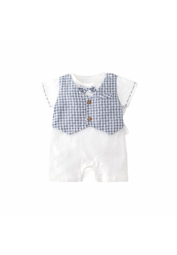 Little Kooma white and blue Baby Boy Fake Two Piece Plaid Suit Romper w Bow Blue 5A298KACB500AAGS_1
