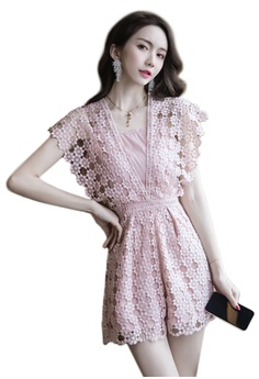 de7360b165 Sunnydaysweety pink New Pink Lace Cap Sleeves Jumpsuit CA030706  30EB4AAB46F1BDGS 1