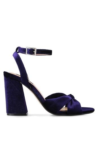 ZALORA purple Velvet Cross Strap Heels 463B0SHF5E1196GS_1
