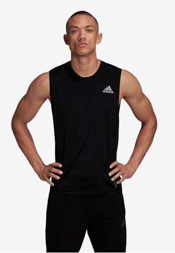 ADIDAS black own the run sleeveless tee C6D49AAF21B345GS_1