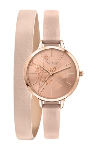 Oui & Me beige Petite Amourette Quartz Watch Nude Leather Strap ME010049 A07A3ACDEDF013GS_1