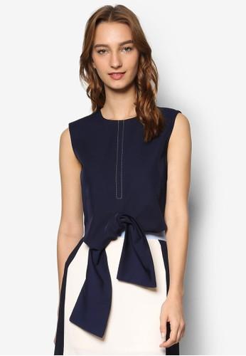 Studio 繫帶下擺短版無袖上衣, 服飾, zalora是哪裡的牌子上衣
