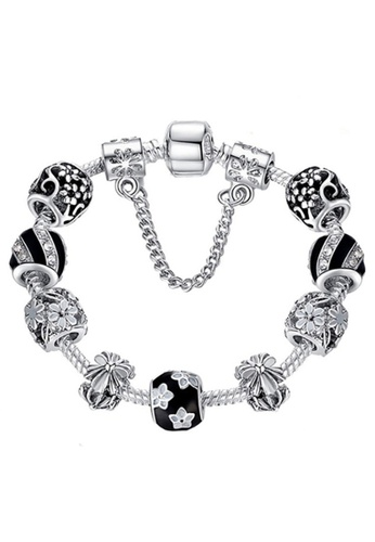 YOUNIQ silver YOUNIQ Silver Black and White Flower Charm Bracelet with Crystal Enamel Beads 18cm 861F9ACF3966CDGS_1
