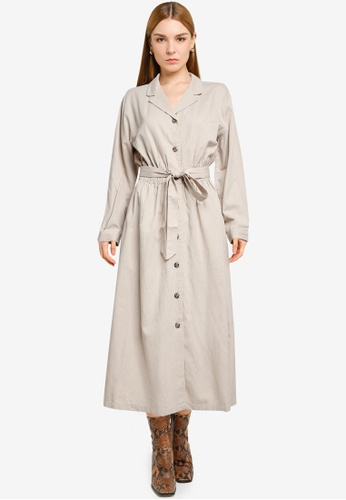 LOWRYS FARM brown Midi Shirt Dress 03547AAC3ACC0DGS_1