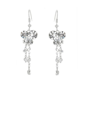 Glamorousky silver Dazzling Butterfly Earrings with Tassels and silver Austrian Element Crystals 0CD00AC121B51DGS_1