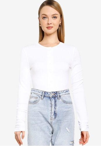 MISSGUIDED white Tall Button Front Long Sleeve Bodysuit 67B70AA9371BF1GS_1