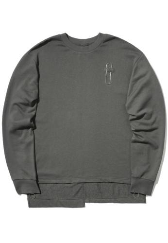 izzue grey Paper clip zip cuff sweatshirt E0BDAAA8A5FCA0GS_1
