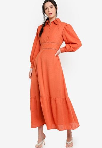 Zalia orange Placement Print Shirt Dress E0A41AA94A83ACGS_1