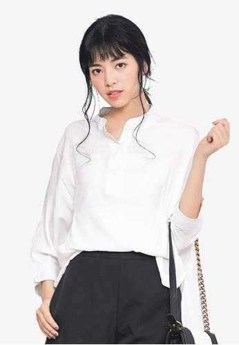 Kodz white Crinkled Design Shirt 2F3DBAADB42669GS_1