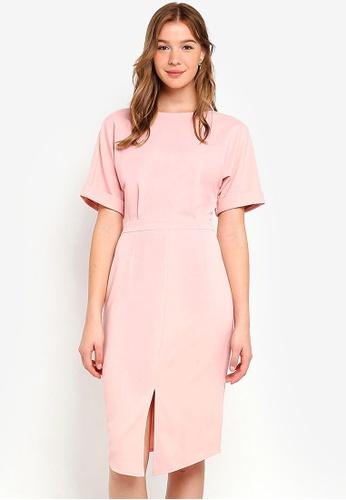 ZALORA BASICS pink Basic Drop Shoulder Dress EEFA8AAEF54FC1GS_1