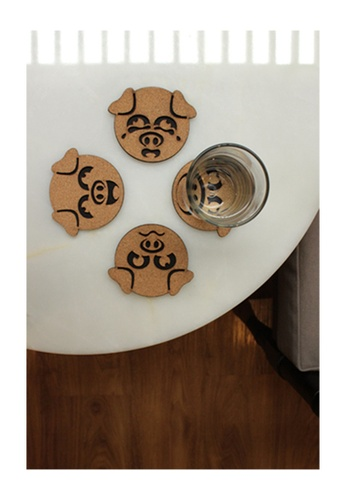 THE INSPIRED PUP brown Pet Coaster Pig Apple 0FB44HL078AF12GS_1