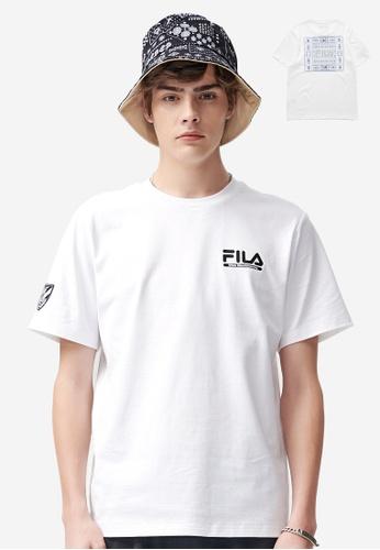 FILA white FILA x White Mountaineering Logo Cotton T-shirt 18351AAFBE735EGS_1