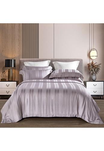 Epitex lilac purple Epitex MD3024-05 Lilac 1200TC Modal Dobby Bedset - Bedsheet (w quilt cover) 48D94HL1208626GS_1
