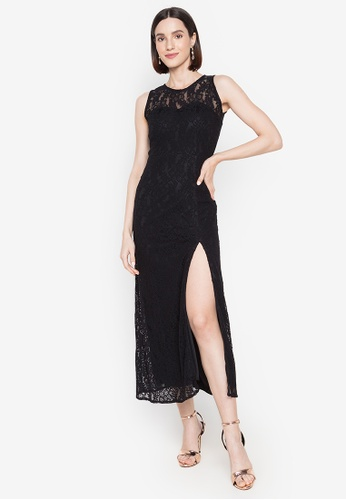 Ashley Collection black Lace Sleeveless With Slit Formal Maxi Dress 84808AAAAB6921GS_1