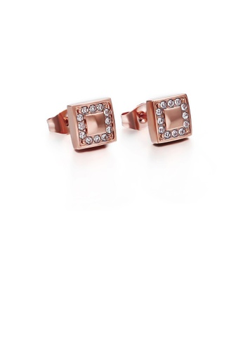 Glamorousky white Simple and Fashion Plated Rose Gold Geometric Square 316L Stainless Steel Stud Earrings with Cubic Zirconia CA817AC6661740GS_1