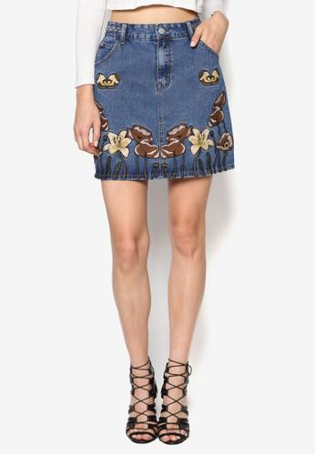 刺繡花卉丹寧短裙, 服飾esprit 特賣, 裙子